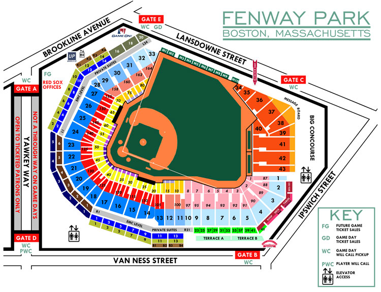 2015 Fenway Park Seating Chart